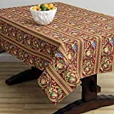 Corona Decor Fruit Design Italian Heavy Weight Tablecloth, 50 by 90-Inch, Red