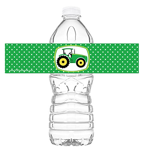 (POP parties Green Tractor Bottle Wraps - Set of 20 - Green Tractor Water Bottle Labels - Green Tractor Decorations - Made in the USA)