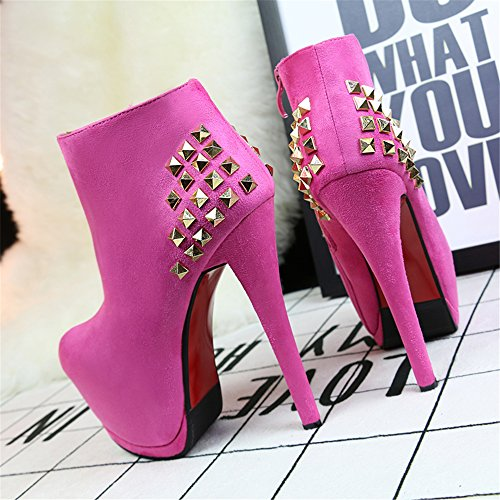 MAKEGSI Womens Rivet Martin Boots Pointed pumps shoes High heels Pink 9Yclz9