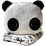 Set di coperta e cuscino a forma di panda - TOOGOO(R) Suess set di coperta e cuscino a forma di panda di velluto a corallo morbido.(nero, bianco)