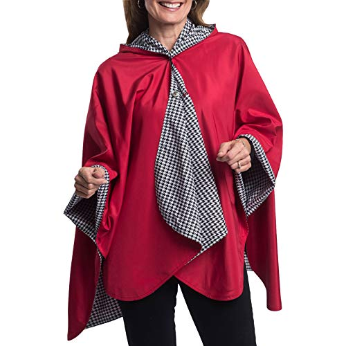 RainCaper Womens Rain Cape Poncho Coat Jacket with Hood Reversible Gorgeous Ultrasoft (Choose your Color)