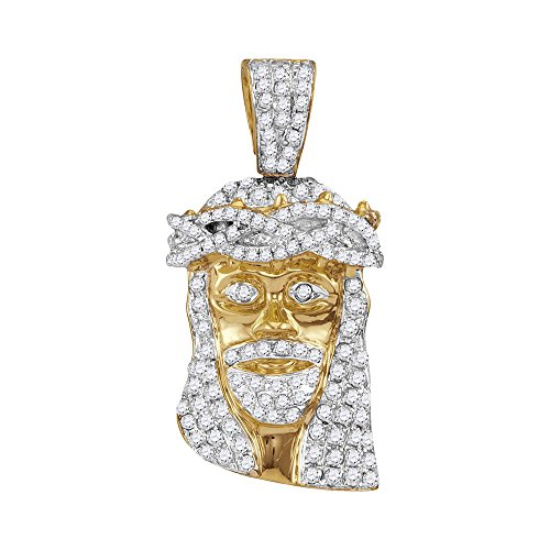 Roy Rose Jewelry 10K Yellow Gold Mens Round Diamond Jesus Christ Messiah Head Charm Pendant 3/4-Carat ()