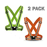 Power Tiger CAR ACCESSORIES Reflective Running Vest Women Men - 2 Pack Adjustable Elastic Hi Vis Safety Vest for Biking, Walking, Jogging, Motorcycle,Cycling Outdoor Reflective Gear Green Orange