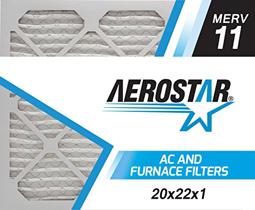 Aerostar Pleated Air Filter, MERV 11, 20x22x1, Pack of 6, Made in the USA