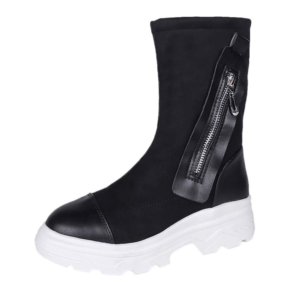 Hunzed Women Shoes Christmas Thick-Bottomed Girls Boots Retro Muffin Bottom Snow Boots Round Head Womens Boots