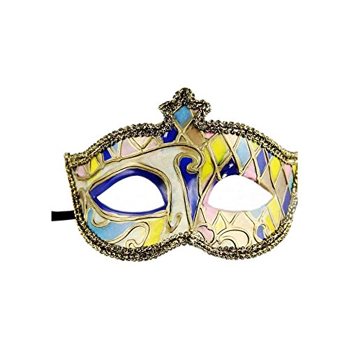 Luxury Venetian Masquerade Mask by 17Rainbow - Archaize Hand Painted Plaid Half Face Ball Mask Halloween Christmas Costume Mask (Blue) (Painted Halloween Masks)