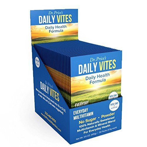 - Daily Vites Multivitamin for Men and Women | Mineral Powder Supplement, Vitamin B, C and D, Biotin, Zinc, Iron | Drink Mix 30 Packets | Dr. Price's Vitamins | No Sugar Vegetarian Non-GMO Gluten-Free