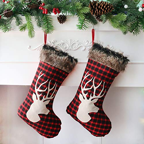 Houwsbaby 2 Pcs Christmas Stockings Set Large Plaid Holders with Reindeer and Plush Faux Fur Cuff Gift Bag for Family Holiday Xmas Party Decorations, Red, 20 inches