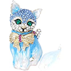 EVER FAITH Plump 3D Cat Pet Austrian Crystal Enamel Brooch Gold-Tone Blue