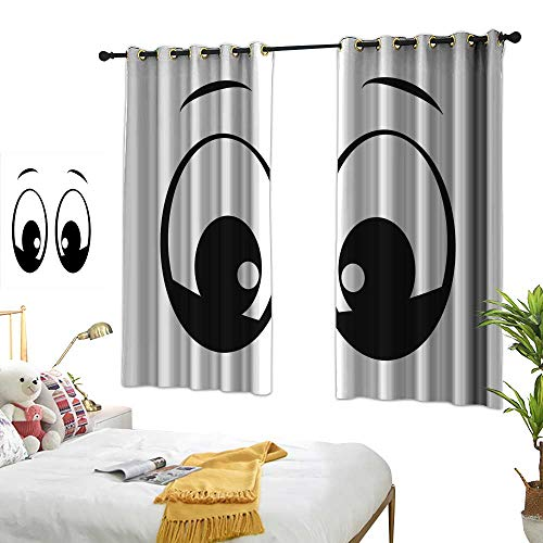 Mannwarehouse Polyester Curtain Eye Surprised Look a Cute Cartoon Character Amazed and Startled Childish Design for Kids Non-Toxic Curtain 72