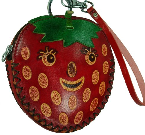 A Real Leather Coin Purse, Wristlet Mini Bag, Strawberry Pattern Design, Cute !