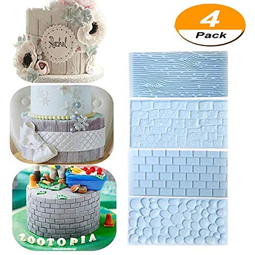 4 PCS Tree Bark and Brick Wall Impression Mat, Cobblestone & Stone Wall Design Cake Decorating Molds Emboss Baking Tool for Chocolate Icing Sugar (Fondant Press Brick)