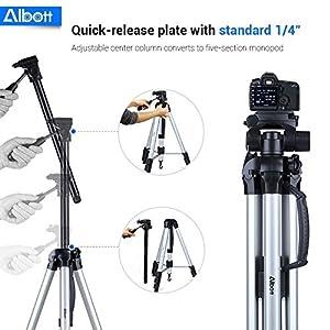 "Albott 70"" Travel Portable DSLR Camera Tripod Monopod Flexible Head for Canon Nikon with Carry Bag from Albott"