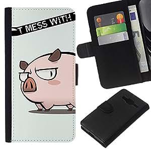 All Phone Most Case / Oferta Especial Cáscara Funda de cuero Monedero Cubierta de proteccion Caso / Wallet Case for Samsung Galaxy Core Prime // Cute Don't Mess Pig