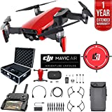DJI Mavic Air Drone Combo 4K Wi-Fi Quadcopter with Remote Controller Deluxe Bundle with Hard Case, Dual Battery, Landing Pad and 1 Year Warranty Extension (Flame Red)
