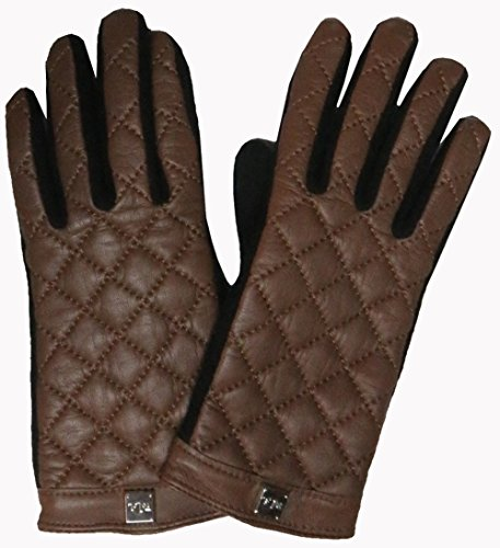 Ralph Lauren Womens Leather and Wool Touch Gloves Brown/Black (Large)