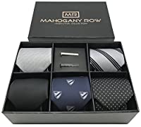 5 PCS Mens Classic 100% Italian Fabric Jacquard Woven Neckties 2 Tie Bars with Designer Gift Box