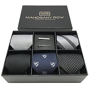 5 Luxury Mens Neckties, 2 Modern Tie Bars, Designer Gift Box, The must have Mens Necktie Set