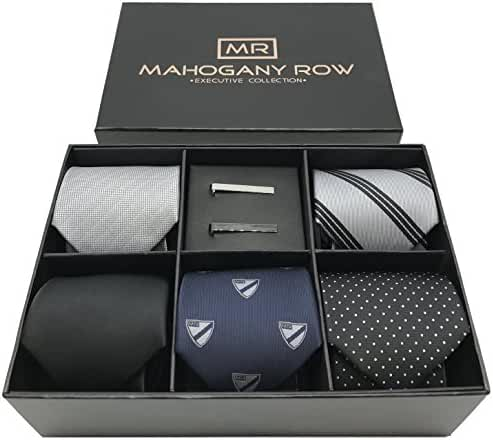 5 PCS Mens Classic 100% Italian Fabric Jacquard Woven Neckties 2 Tie Bars with Designer Gift Box