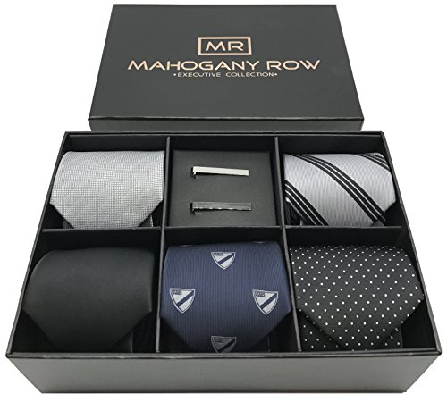 5 Luxury Mens Neckties, 2 Modern Tie Bars, Designer Gift Box, The must have Mens Necktie Set (Mens Suit Designer Executive)