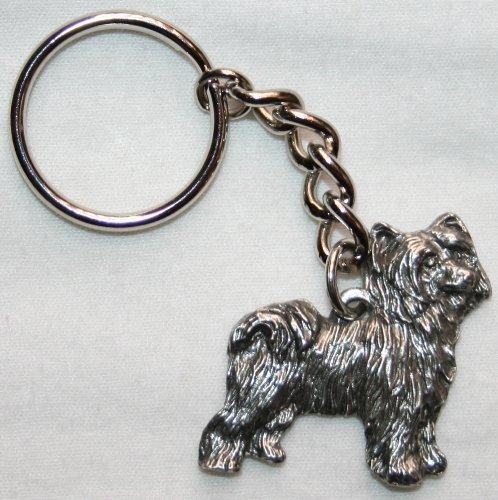 Fine Pewter Keychain - Chinese Crested Powder Puff Dog Fine Pewter Keychain Key Ring