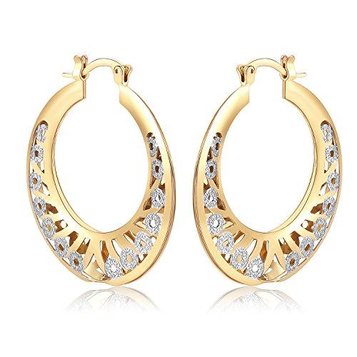 Plated Lucky Gold Earrings (Orangelove 18K Gold Plated Women's Two-Tone Butterfly Hoop Earrings Wedding Enagement Party Birthday Gift (Lucky Hoop Earrings 22mm))