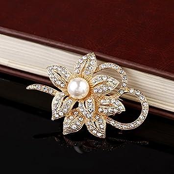 iTemer 1 Unidades Exquisita Perla Flor aleaci/ón Broche Elegante joyer/ía joyer/ía Vestido se/ñoras Insignia Pin 5.6cm*3.9cm Blanco