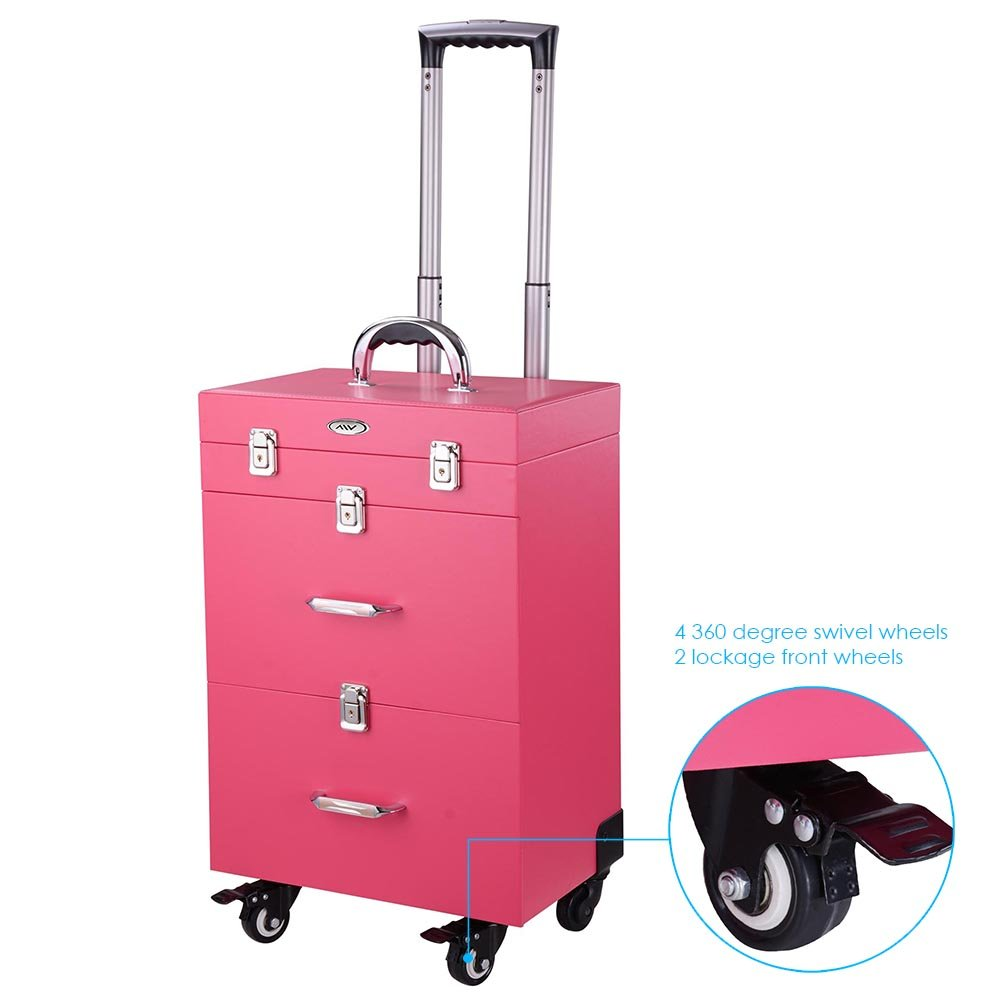 AW Professional 14x9x20'' Nail Artist 4 Wheel Rolling Makeup Case Cosmetic Artist Trolley