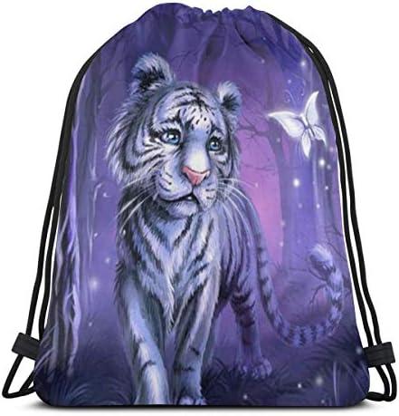 虎と蝶の巾着バックパックバッグスポーツジムサックパック36 x 43cm