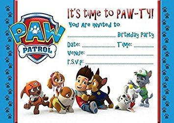 PAW PATROL CHILDRENS BIRTHDAY PARTY INVITES INVITATIONS X 20 PACK