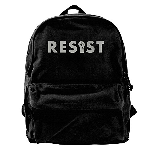 Resist Hate Fist???.png Mens&womens Large Vintage Canvas Backpack School Laptop Bag Hiking Travel Rucksack