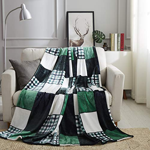 (Tache Forest Green Farmhouse Super Soft Fleece Plaid Patchwork Throw Bed Blanket, 63x90 Inches Twin)