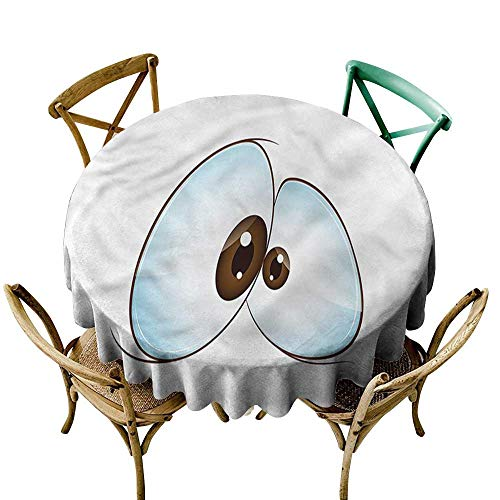 Luunins Round Tablecloth Vinyl Fitted Eye,Funny Cross-Eyed Mascot D54,for Baby Shower