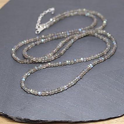 Collar con cuentas de labradorita. Relleno de plata de ley, relleno de oro o rosa. Gargantilla de piedras preciosas color azul Collar de capas largas. Boho Hippie Jewelry 3,5 a 4 mm 16