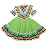 Mexican Clothing Co Baby Girls Mexican Jalisco Dress (Blouse and Skirt) Poplin 24M Green 5886