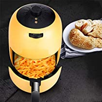 MDYYD Air Fryer 1000-Watts Hot Air Fryer Oven Stainless Steel Electric Oilless Cooker with Nonstick Square Basket Electric hot air Fryer (Color : Yellow, Size : 2L)
