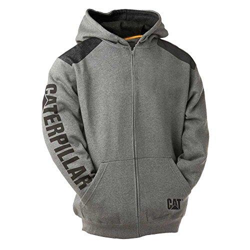 Caterpillar Men's Logo Panel Zip Sweatshirt (Regular and Big Sizes), Dark Heather Grey, Large from Caterpillar