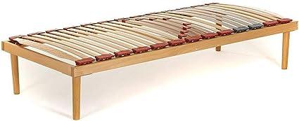 Dormiland - Somier de madera de haya con láminas con amortiguación y basculantes, dotado de reguladores de rigidez en la zona lumbar - Tamaño del ...