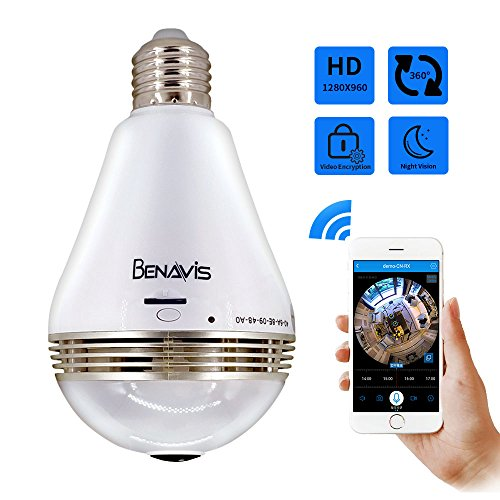 Light Bulb Camera, Benavis 360 degree VR Panoramic White LED Lighting, HD Wireless IP Fisheye Security Cameras, Spy Lamp Hidden Wifi 2.4G with Night Vision CCTV Surveillance Video Cam System Cctv Security Spy Camera