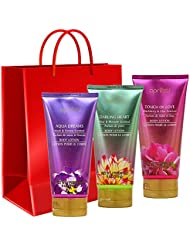 Valentine Day Lotion Gift Set | Pack of 3 | Blackberry & Lilac Scented, Pear & Blossom Scent, Musk 7 Freesia Scented | Free Red Gift Bag | Her Wife Girlfriend Sister Daughter (Love)