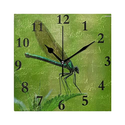 HangWang Wall Clock Dragonfly Silent Non Ticking Decorative Square Digital Clocks Indoor Outdoor Kitchen Bedroom Living Room