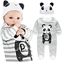FEITONG 1Set Newborn Infant Baby Boys Girls Romper+ Hat (9 Months, Gray)
