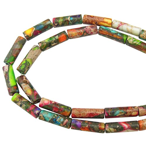 Imperial Jasper Beads - COIRIS 1 Strand 12x4MM Natural Cylinder Tube Shape Stone Loose Beads Imperial Jasper for Jewelry Making DIY Design (ZS-1083)