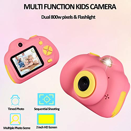Deeteck Kids Digital Camera,Dual 8MP HD Video Toy Cameras,Gifts for 4-8 Year Old Girls & Boys,Mini Camcorders for Child Support Selfie with 16GB Memory Card(Pink) by Deeteck (Image #1)