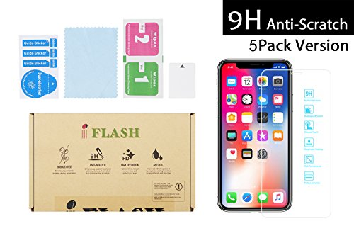 [5 Pack iFlash Tempered Glass Screen Protector for Apple iPhone X/XS 2017 2018 - Crystal Clear / 2.5D Rounded Edges / 9H Hardness/Scratch Proof/Bubble Free/Oleophobic/Case Friendly