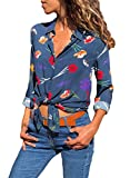 FARYSAYS Women's Autumn Ladies V Neck Long Sleeve Floral Print Button Down T Shirts Casual Tops Blouse for Work Blue Large