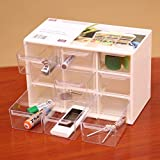 Km Compact Multipurpose Plastic Storage Container Box With 9 Drawers For Storing Various Items (White)