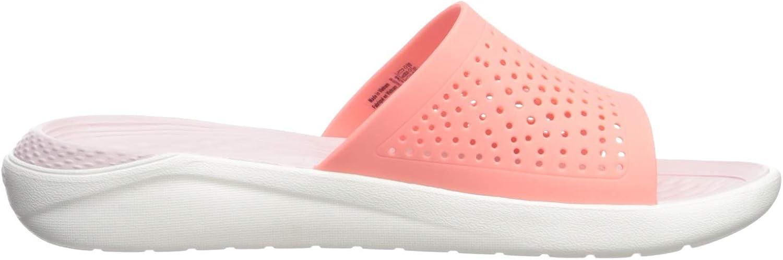 Crocs Literide Slide, Chaussures de Plage & Piscine Mixte Adulte Rose Melon White 6kp