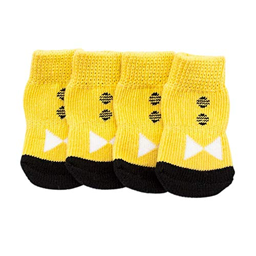 - 4 pcs/Set Pet Dog Socks Boots Winter Canvas Shoes Small Dogs Soft Warm Socks,Yellow,L