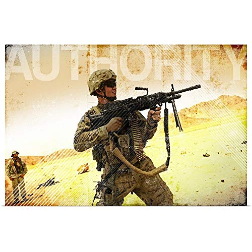 GREATBIGCANVAS Poster Print Entitled Military Grunge Poster: Authority. A Soldier Firing his Mk-48 Machine Gun by Kate Lillyson 48